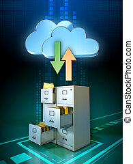 archivos, local, almacenamiento, nube