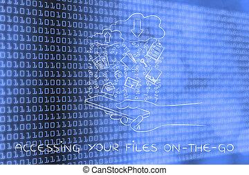 archivos, móvil, el tener acceso,  on-the-go, y, descargas,  uploads, nube