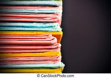 archivos, papel, coloreado