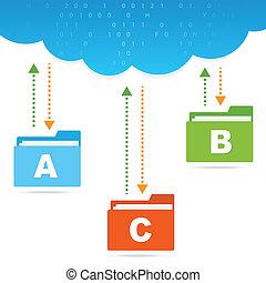 archivos, transferencia, presentación, nube