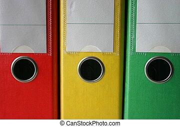 archivos, tres, coloreado