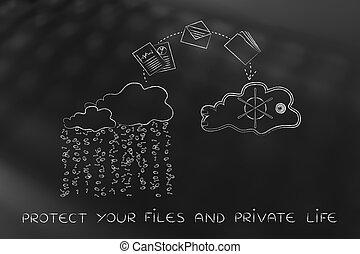 archivos, y, carpetas, jumpying, de, inseguro, a, seguro, nube, servicio