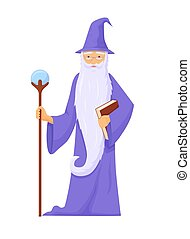 Archmage with ancient staff. Wizard connoisseur ice magic long gray beard blue robe with staff power crystal powerful creation energy and destruction fantasy cartoon vector.