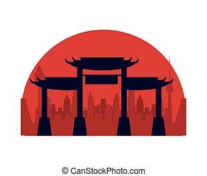 archs, arquitectura, japonés, icono, monumentos