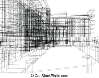 archticture, abstratos, wire-frame
