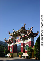 An archway to a Chinese temple