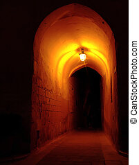 Medieval archway by night, in the old city of Mdina in Malta