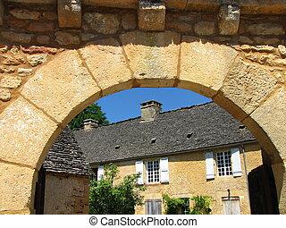 Archway, door, village, Saint Genies