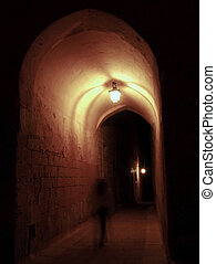 Archway Ghost - Ghost walking through medieval archway