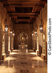 Archway inside of the Sultan Qaboos Grand Mosque in Muscat, Oman