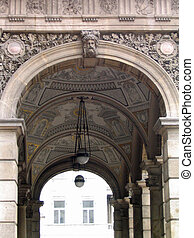 Opera house Archway in Budapest Hungary
