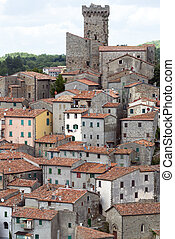Arcidosso (Grosseto, Tuscany, Italy): panoramic view of the medieval city in the Monte Amiata region
