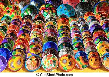 arcilla, cerámico, placas, de, méxico, colorido