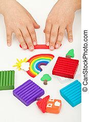 arcilla, modelado, manos, juego, niño
