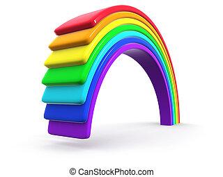 arco íris, 3d, plástico