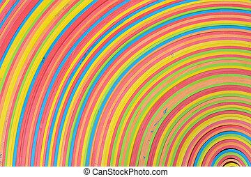 arco íris, abaixar, tiras, centro, padrão, borracha, canto