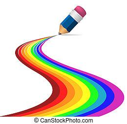 arco íris, abstratos, feito, curvas, lápis