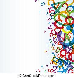 arco íris, abstratos, fundo, números, coloridos