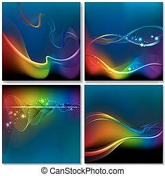 arco íris, abstratos, fundo, onda