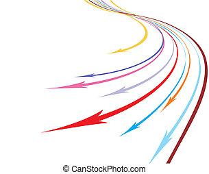 arco íris, abstratos, linha, fundo, seta