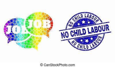 arco íris, angústia, fórum, não, selo, criança, mensagens, trabalho, vetorial, pixelated, selo, ícone, trabalho, colorido