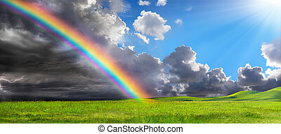 arco íris, após, -, pacata, tempestade, paisagem rural
