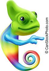arco íris, apontar, camaleão