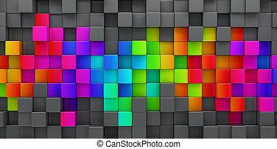 arco íris, blocos, render, coloridos, abstratos, -, fundo, 3d