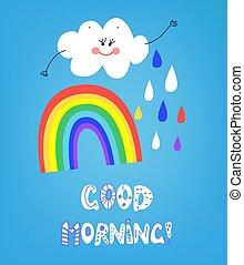 arco íris, bom, cartão, ilustração, manhã