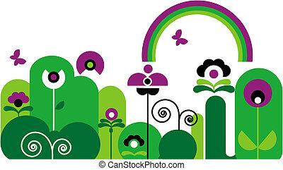 arco íris, borboleta, flores, redemoinhos, verde, roxo, jardim