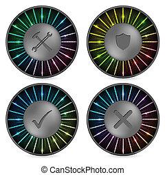 arco íris, botão, jogo, vário, ícones