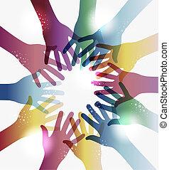 arco íris, círculo, transparência, mãos