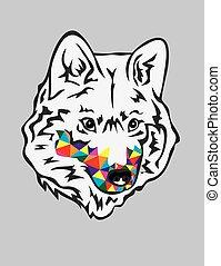 arco íris, cabeça, lobo