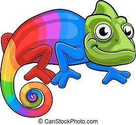 arco íris, camaleão, caricatura, mascote