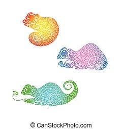 arco íris, camaleão, gradiente, doodle, chameleon., mão, desenhado