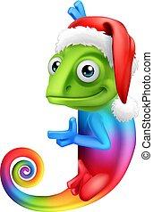 arco íris, camaleão, sinal, chapéu santa, caricatura, natal