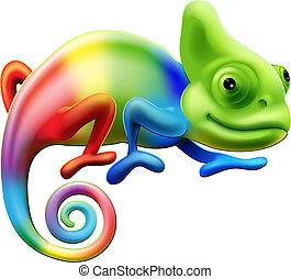 arco íris, camaleão