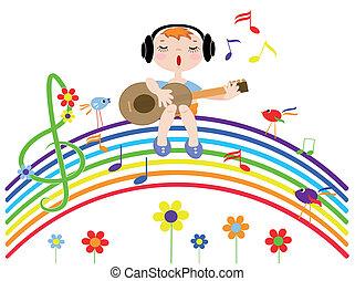 arco íris, canta, menino