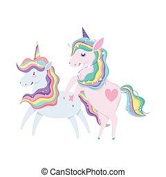 arco íris, caricatura, ícone, unicórnios, animal, isolado, cabelo, desenho