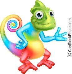 arco íris, caricatura, camaleão