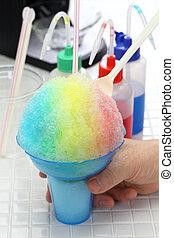 arco íris, caseiro, havaiano, gelo, raspada