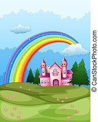 arco íris, castelo, céu, hilltop