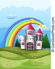 arco íris, castelo, hilltop