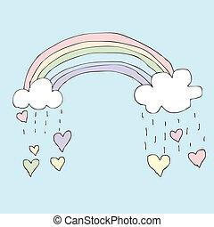 arco íris, chuvoso, coração