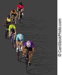 arco íris, ciclistas