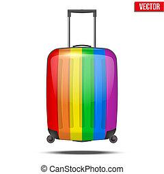 arco íris, clássicas, viagem, bagagem, plástico, mala, ar, ou, estrada
