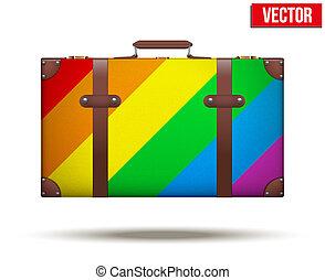 arco íris, clássicas, vindima, viagem, bagagem, color., mala