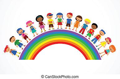 arco íris, com, crianças, coloridos, vetorial, ilustração