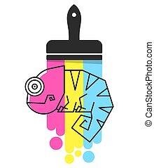 arco íris, cor chameleon, personagem, ilustração, lagarto, caricatura