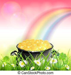 arco-íris cor-de-rosa, leprechauns, ouro, natureza, patrick, fundo, dia